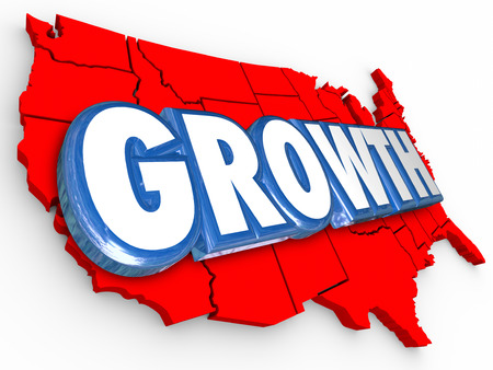 population growth: Growth word on a red 3d map of the United States of America to illustrate increase in population, economy, productivity, output, education, income or other measurement Stock Photo