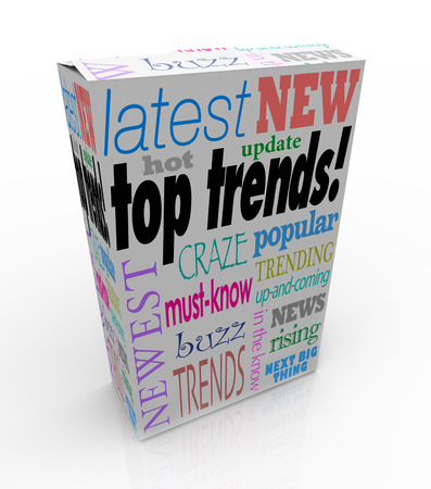 hotter: Top Trends words on a 3d product box or package to illustrate the latest, newest or most popular items, goods or merchandise Stock Photo
