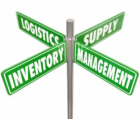 inventario: Inventario, Gestión, Logística y Supply palabras en 4 carretera o calle señales verdes apuntando manera de controlar la cadena de bienes, mercancías o productos en una empresa o negocio