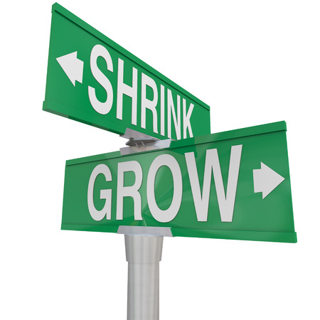 smaller: Grow Vs Shrink words on two green road or street signs to show the opposite directions of improving or worsening, increase vs decrease and getting bigger or smaller