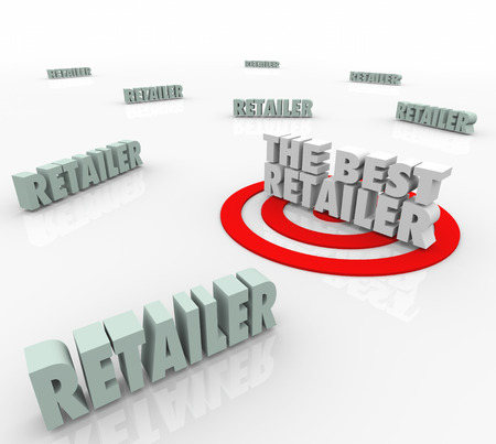 top seller: The Best Retailer words in 3d letters and a target to find, rate or review the top or most popular seller, outlet, store or merchant offering great goods and services