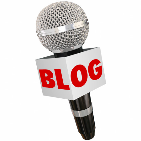 articles: Blog word on a microphone to illustrate speaking your opinion through website columns, posts, articles and other forms of media or modern communication Stock Photo