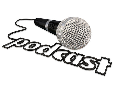 recorded: Podcast word spelled in a black cord attached to a microphone for sharing opinion in a recorded audio program