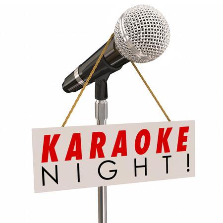 노래 노래와 엔터테인먼트의 재미있는 이벤트 또는 파티를 광고 기호에 가라오케의 밤 단어 스톡 콘텐츠