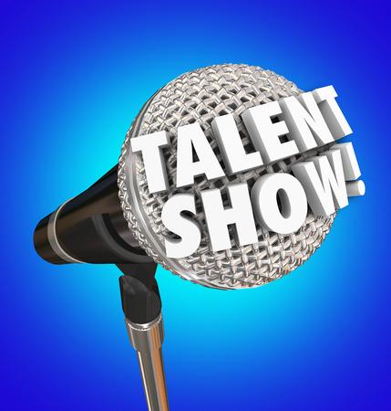 Talent Show woorden in 3d letters op een microfoon te illustreren of adverteren een zangwedstrijd of gebeurtenis voor de prestaties