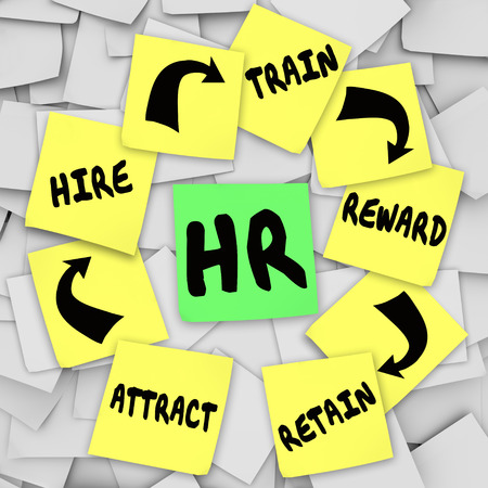 onto: HR or Personnel words on a sticky note surrounded by advice on how to get and keep new employees or workers -- attract, hire, train, reward and retain Stock Photo