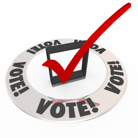 opting: Vote word in a ring around a check mark and box to illustrate choosing the best or most popular choice among candidates in an election or contest Stock Photo