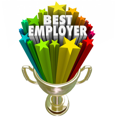 rated: Best Employer words in a gold trophy with colorful starts to illustrate the top rated workplace for your new job or career Stock Photo