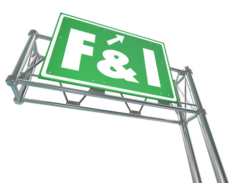auto leasing: F and I words on a green freeway sign to advertise finance and insurance services at a car, vehicle or automobile dealership Stock Photo