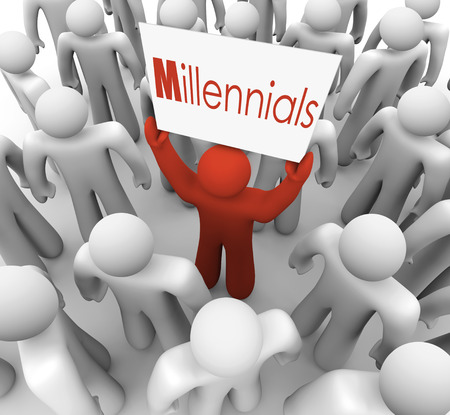 generation y: Millennials word on a sign held by a young person or man to represent a generation of youth who is savvy in social media and networking Stock Photo