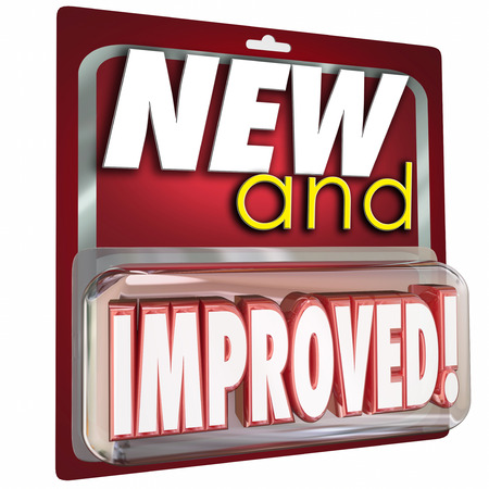 new and improved: New and Improved words in red product package to illustrate an item or merchandise that is latest update available to buy