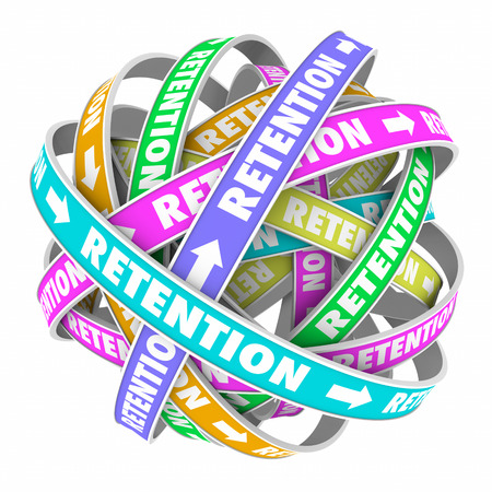 retaining: Retention word on rings in a cycle or circle to illustrate keeping, retaining and holding customers or employees