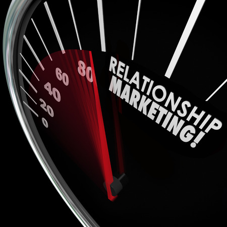 fostering: Relationship Marketing words on speedometer to illustrate increasing customer loyalty for your company or business Stock Photo
