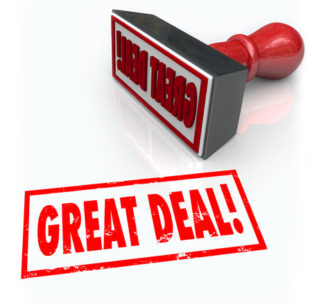 reduced value: Great Deal words stamped in red ink to advertise a special discount offer or sale to save money on merchandise at a store or retail outlet