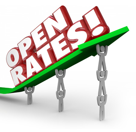 efforts: Open Rates red 3d words on an arrow lifted by a business marketing team aiming to increase successful efforts and campaigns targeting customers