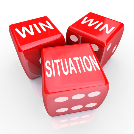 both sides: Win Win Situation words on three red dice as an agreement or arrangement that is mutually beneficial for both or all parties in a negotiation