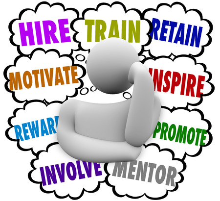 A business person thinking of ways to motivate and retain employees with thought clouds containing the words hire, train, reward, involve, mentor, inspire and promote