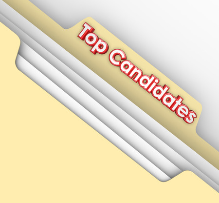 Top Candidates words on a manila file folder tab to illustrate applications and resumes for the best most qualified applicants for a new job or position at a company or business photo