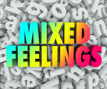 hesitant: Mixed Feelings words in colorful 3d words on a background of jumbled letters in a pile to illustrate complicated, complex or confused emotions Stock Photo