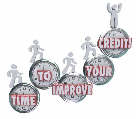 Zeit, um Ihre Credit Worte auf Uhren Verbessern Sie die Notwendigkeit, sich auf die Reparatur, Fixieren oder die Steigerung Ihrer Bonitätsbewertung oder Punktzahl leihen uns Geld von einer Bank oder Kreditgeber zu arbeiten, um zu veranschaulichen
