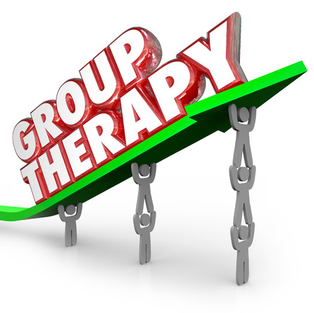 getting better: Group Therapy words in red 3d letters on a green arrow lifted by people or patients sharing feelings and discussing treatment and ways to get better Stock Photo