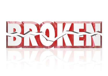 Broken word in 3d letters split in half to illustrate an injury, damage, disrepair or equipment or oject that is out of order or service photo