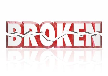 in disrepair: Rotto parola in lettere 3d diviso a met� per illustrare un infortunio, il danno, rovina o attrezzature o ogetto che � fuori uso o servizio Archivio Fotografico