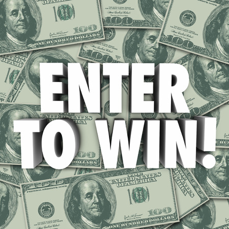 raffle: Enter to Win 3d words on a background of hundred dollar bills or money to illustrate or advertise a contest, raffle, jackpot, lottery or competition with a big cash prize to the winner