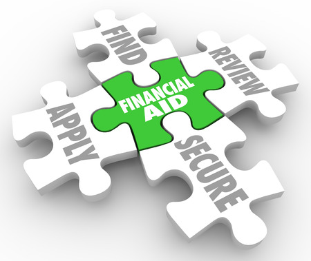 Financial Aid words on puzzle pieces with the steps involved including find, apply, review and secure money assistance or help in paying college or education costs and tuition
