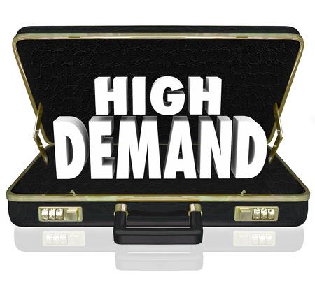 desired: Palabra de alta demanda en letras blancas 3d en un malet�n de cuero negro como una presentaci�n de ventas o propuesta para los productos o servicios populares, querido, deseado