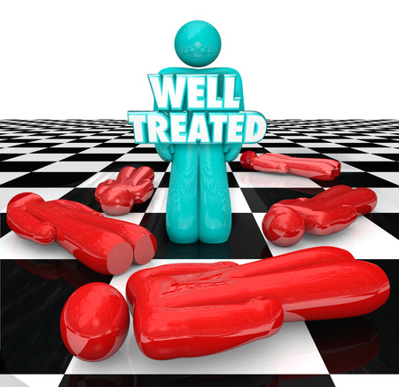 refused: Well Treated 3d words on a person standing over other people who refused or did not receive treatment for a medical condition, disease or illness Stock Photo