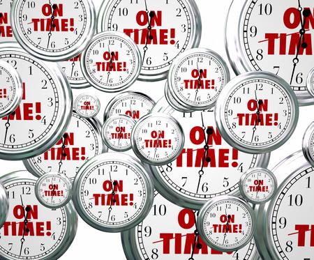 puntualidad: En palabras de tiempo en los relojes volando para ilustrar la puntualidad para mantenerse en la fecha prevista para la reuni�n y citas o eventos improtant