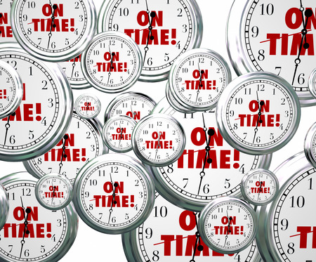 relying: On Time words on clocks flying by to illustrate punctuality for staying on schedule for meeting and improtant appointments or events