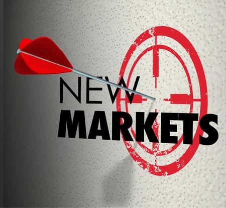 New Market woord op een muur en pijl raken het doel om zaken groei illustreren uitgebreid gebieden om de verkoop en marketing aandeel te verhogen