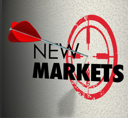 areas: New Market word on a wall and arrow hitting the target to illustrate business growth to expanded areas to increase sales and marketing share