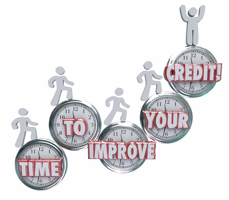 rating: Time to Improve Your Credit words on clocks to illustrate the need to work on repairing, fixing or increasing your creditworthiness rating or score for borrowing money from a bank or lender