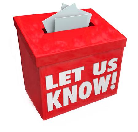 vorschlag: Lassen Sie uns wissen 3d Wörter auf einem roten Feld für Anregungen, Kommentare, Feedback, Kommunikation, Bewertungen und anderen messgaes, uns zu kontaktieren Lizenzfreie Bilder