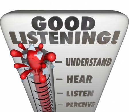 Goed luisteren woorden op een thermometer of een meetinstrument voor het meten van gegevens bewaard door een zorgvuldige aandacht voor het delen van inzichten, advies en leren Stockfoto