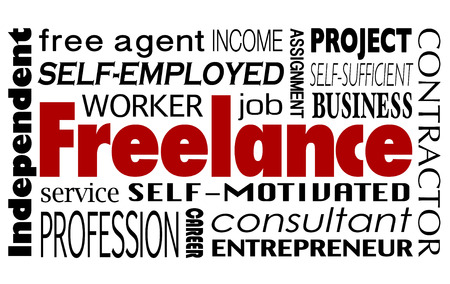 contracted: Freelance word collage with related terms like independent worker, consultant, entrepreneur, free agent, project, assignment and profession
