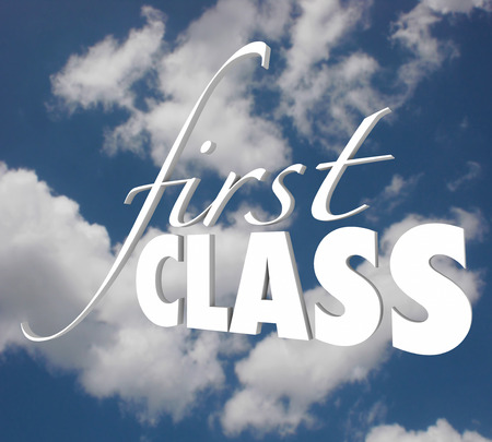first class: First Class words in white 3d letters on a blue cloudy sky to illustrate or advertise top level service or exclusive executive service to customers