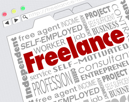 independent contractor: Freelance word on website screen and related terms like independent, contractor, self, employeed, consultant and more Stock Photo