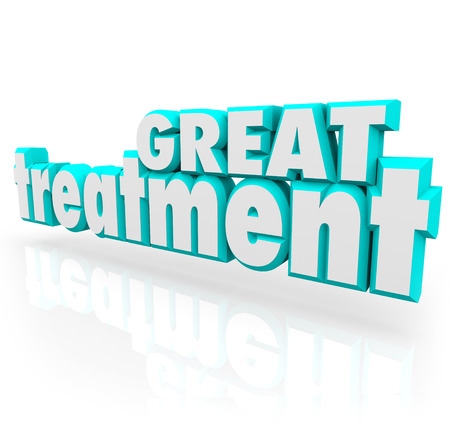 recuperate: Great Treatment 3d words in blue letters to illustrate effective medical help, therapy, cure or assistance