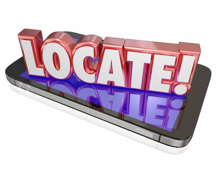 locating: Locate word in red 3d letters on a mobile phone or device to illustrate app, program or software that tracks or traces the location of you or your cellphone