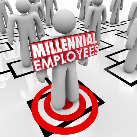 Millennial Mitarbeiter Worte auf einem Arbeiter oder Angestellter auf einem Organigramm veranschaulichen, der Suche und Einstellung von jungen Menschen