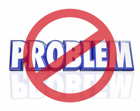 No symbol with red circle and slash over word Problem in 3d letters to illustrate avoiding or solving a challenge, issue, trouble or bad situation Imagens
