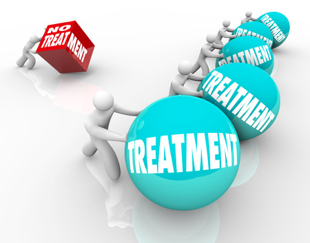 regimen: No Treatment words on a cube being pushed by a man or person suffering from a medical condition and refusing therapy or medical help