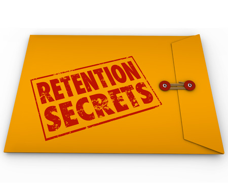Retention Secrets word stamped in grunge red ink style on a yellow envelope to give you tips and advice on retaining customers or employees