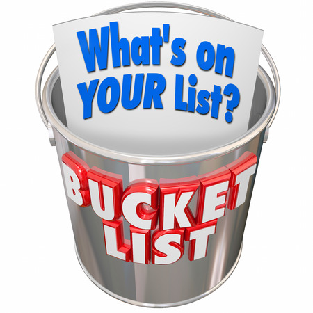 things to do: Whats On Your Bucket List words on a metal pail to illustrate things you want to do before you die Stock Photo
