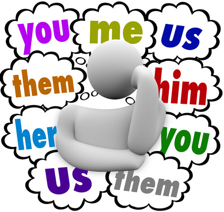 thinking of you: You Me Us Them Her Him words in thought clouds over a thinking person wondering who deserves credit, blame or responsibility Stock Photo
