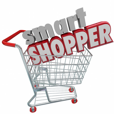 smart: Smart Shopper 3d words in shopping cart to illustrate saving money by comparison research in buying products